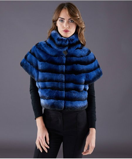 Rex rabbit fur jacket horizontal lines • red colour