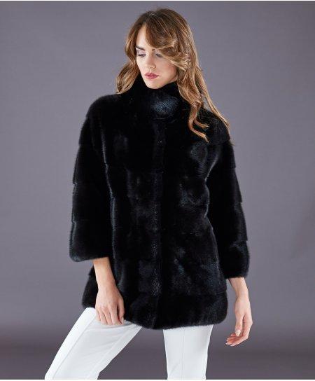 Mink fur jacket ring collar long sleeve • black colour