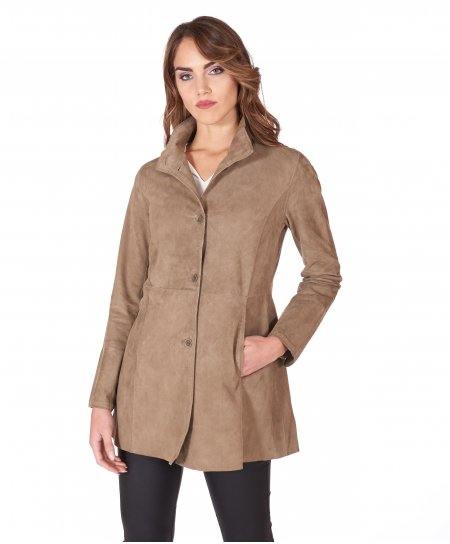 Mud suede unlined lamb leather coat