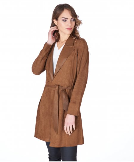 Tan suede belted lamb leather coat