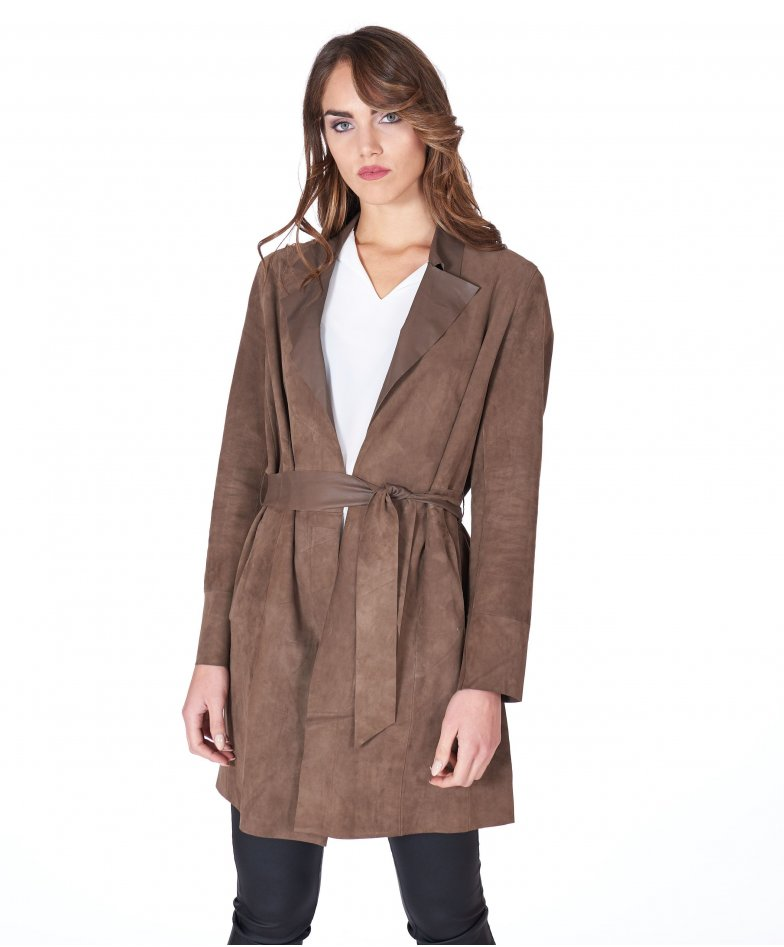Olive suede belted lamb leather coat
