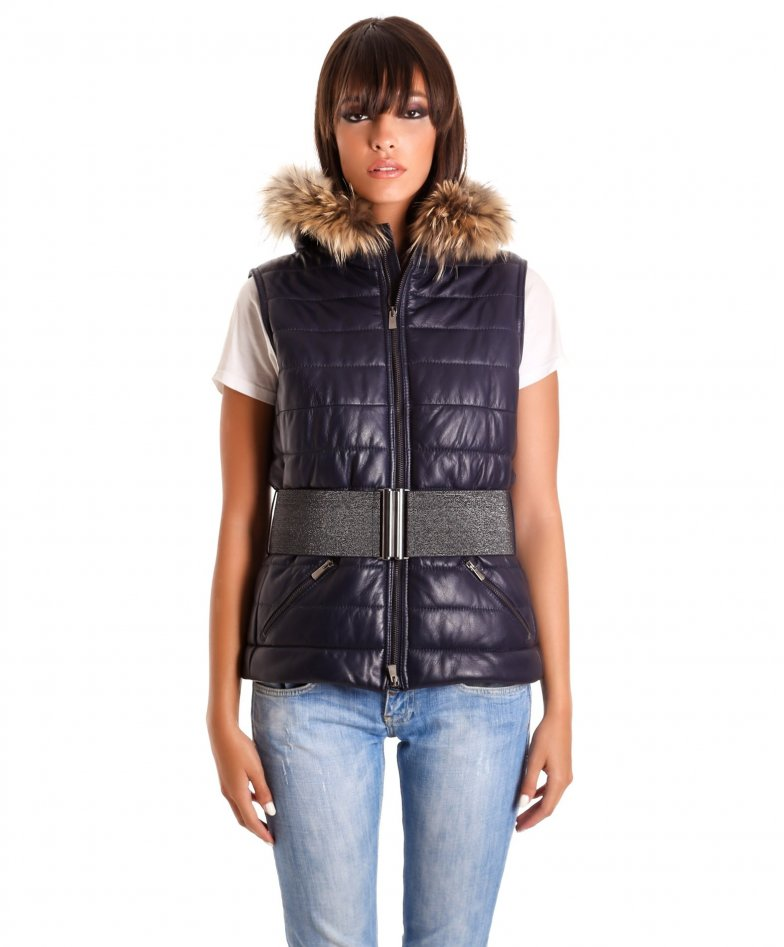 Blue fur hooded nappa lamb leather vest