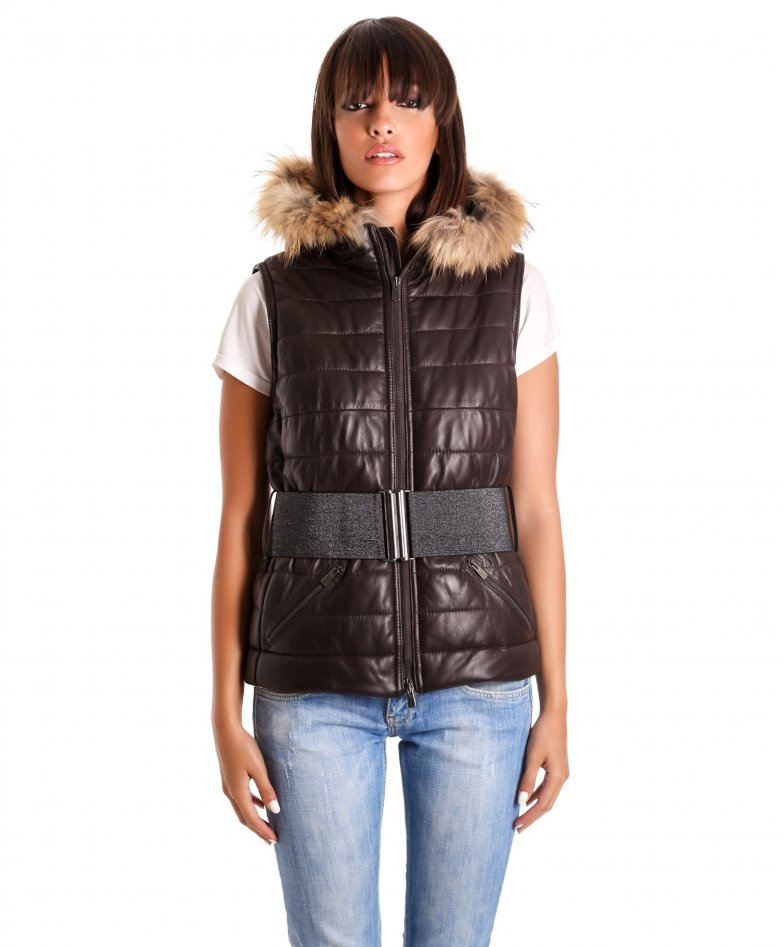 Brown hooded nappa lamb leather vest
