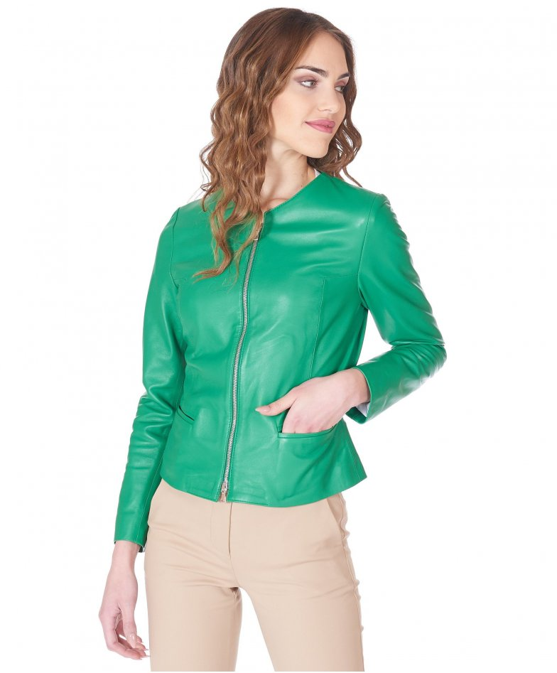 Green nappa lamb leather jacket round collar