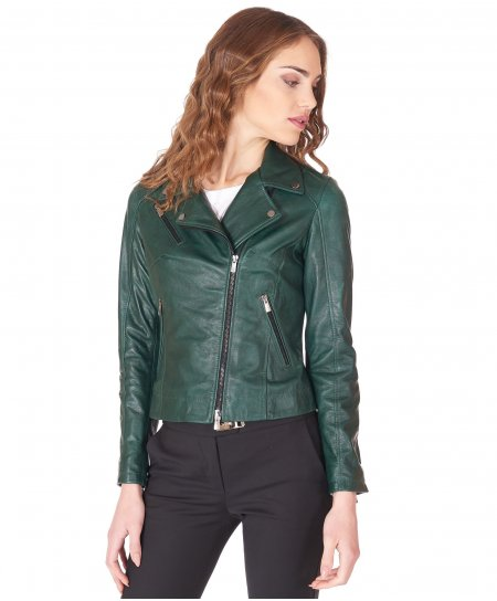 Green lamb leather perfecto jacket vintage aspect