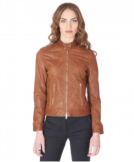 Tan perforated lamb leather biker jacket