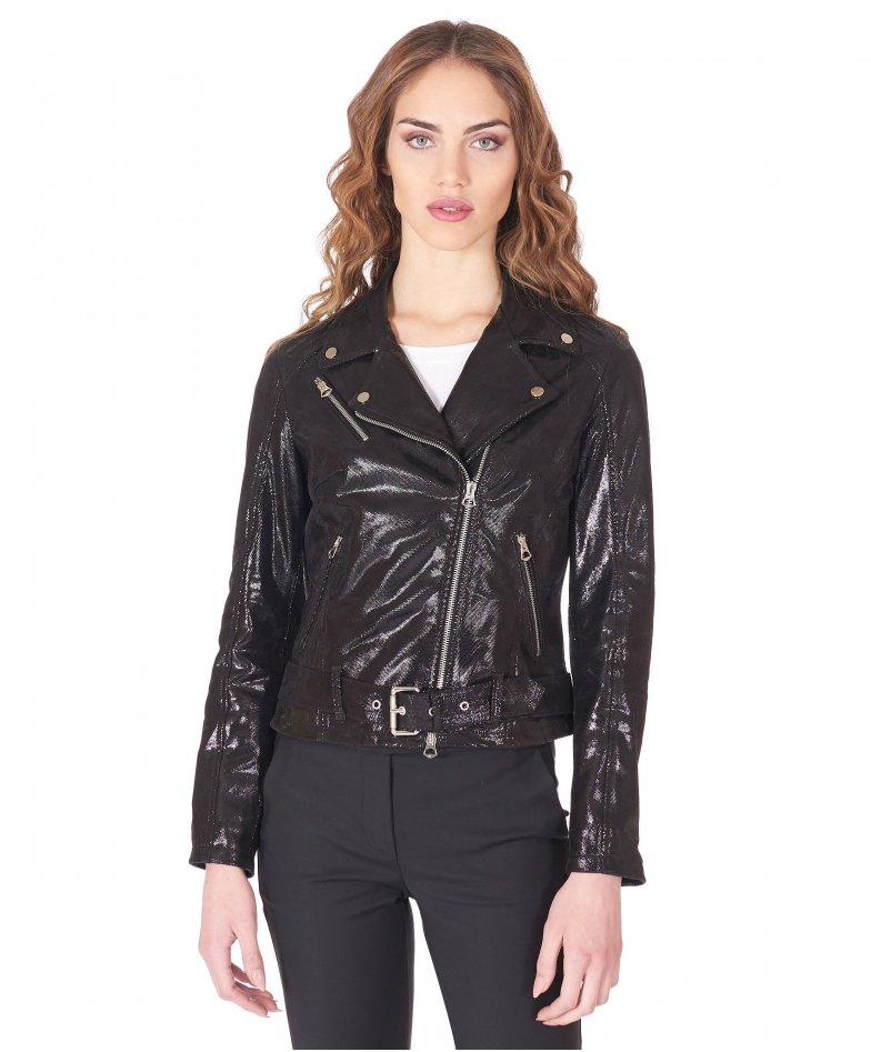 Black belted nappa leather perfecto jacket crystals aspect