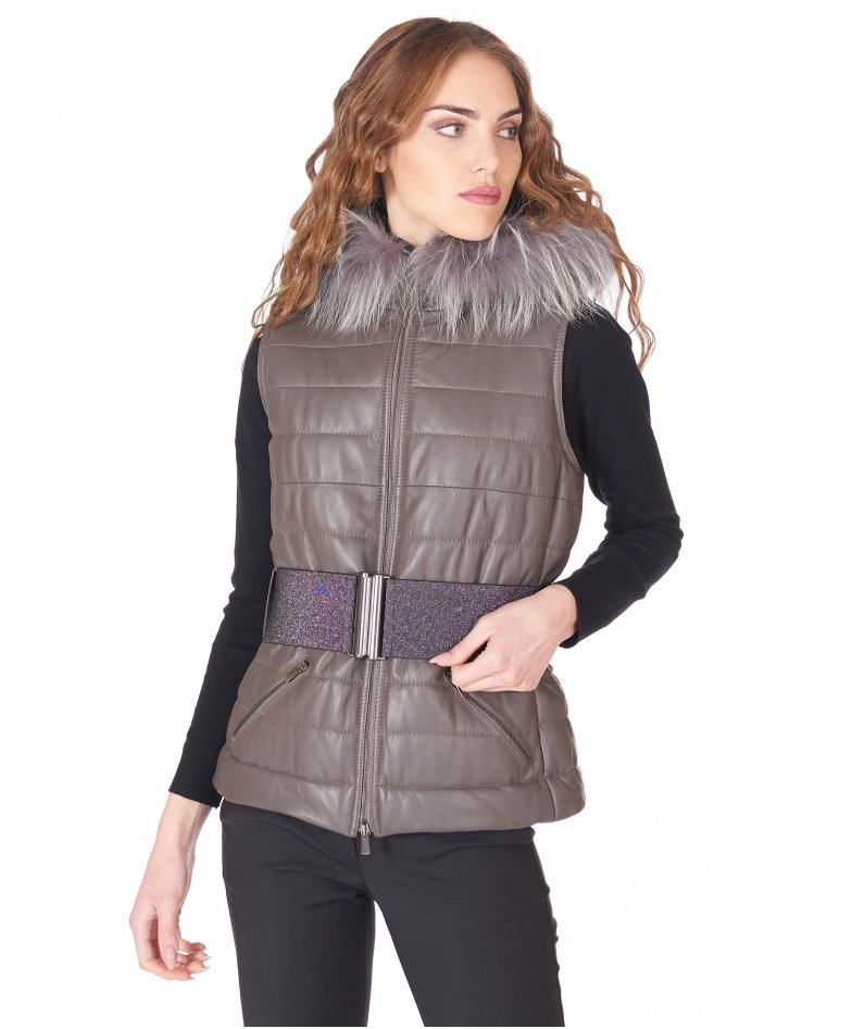 Grey hooded nappa lamb leather vest