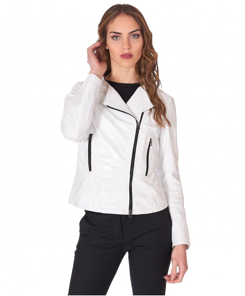 White nappa leather perfecto jacket croco aspect