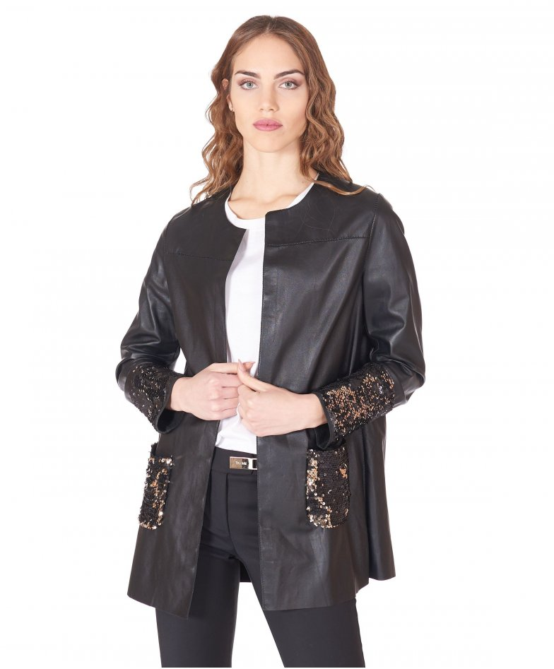 Black nappa lamb leather shirt top paillettes sleeve