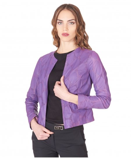 Purple nappa perforated leather jacket