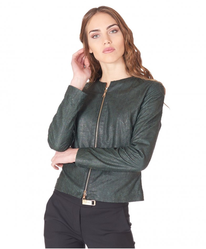 Green nappa leather jacket scale aspect