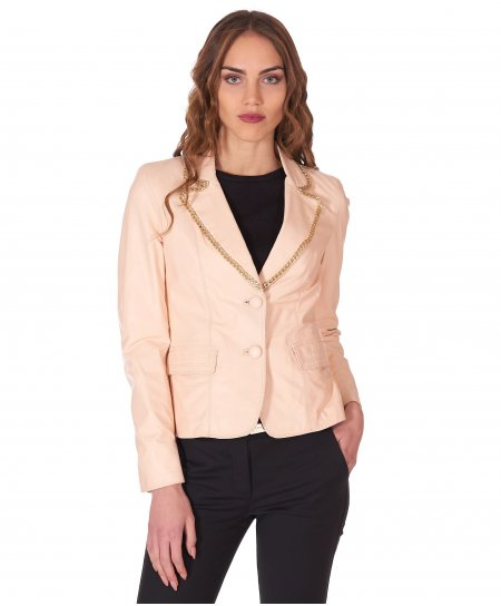 Powder pink leather blazer jacket smooth aspect