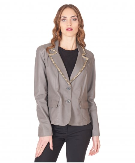 Grey leather blazer jacket smooth aspect