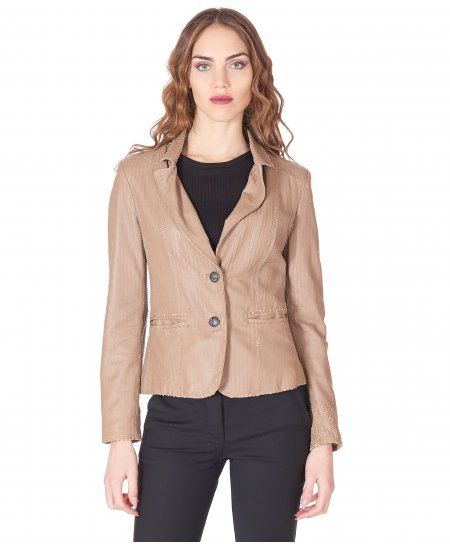 Hazel leather jacket blazer snake effect