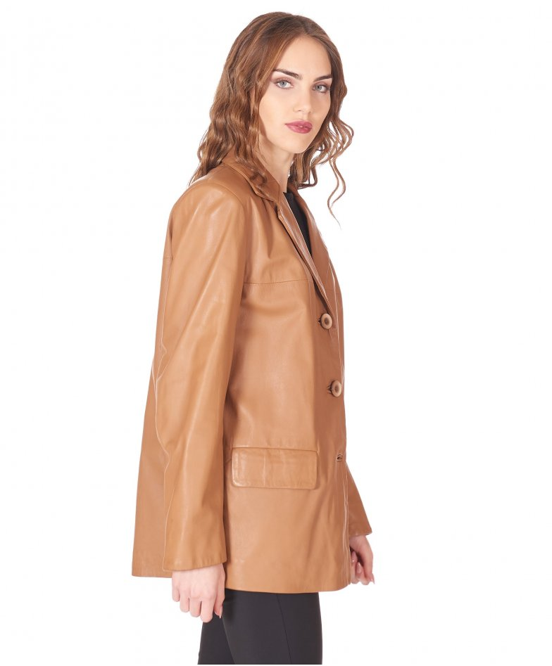 Hazelnut leather blazer jacket patch pockets