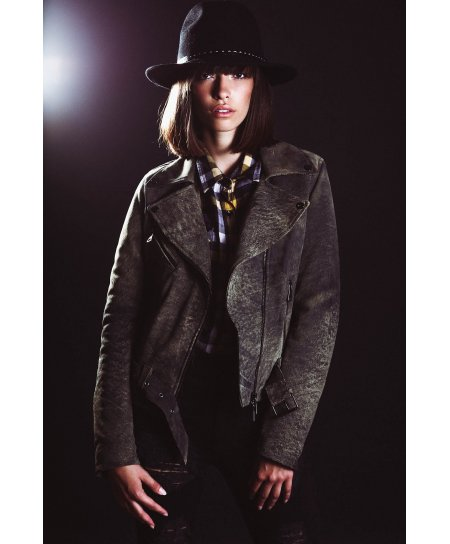Safari grey belted nubuck lamb leather perfecto jacket