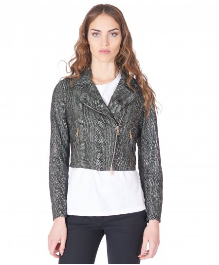 Black leather short jacket perfecto python effect