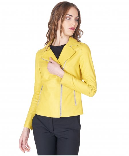 Yellow leather perfecto jacket vintage aspect
