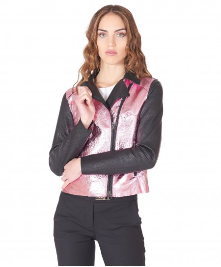 Pink black leather perfecto jacket wrinkled aspect