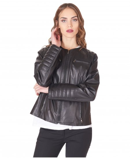 Black quilted nappa lamb leather biker jacket