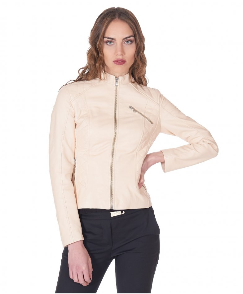 Cream quilted nappa leather biker jacket smooth aspect
