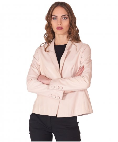 Pink powder nappa lamb leather jacket one button