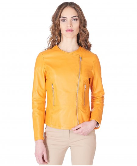 Orange nappa leather perfecto jacket