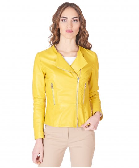Yellow nappa lamb leather perfecto jacket