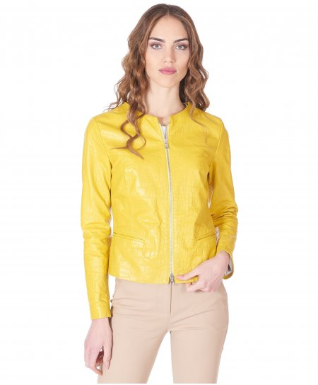 Yellow nappa leather jacket round collar croco effect