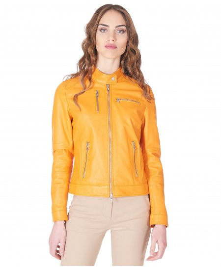 Orange nappa leather biker jacket smooth aspect