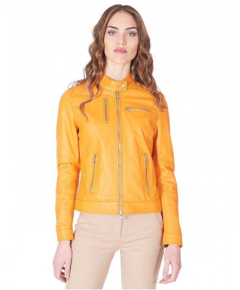 Orange nappa leather biker jacket smooth aspect