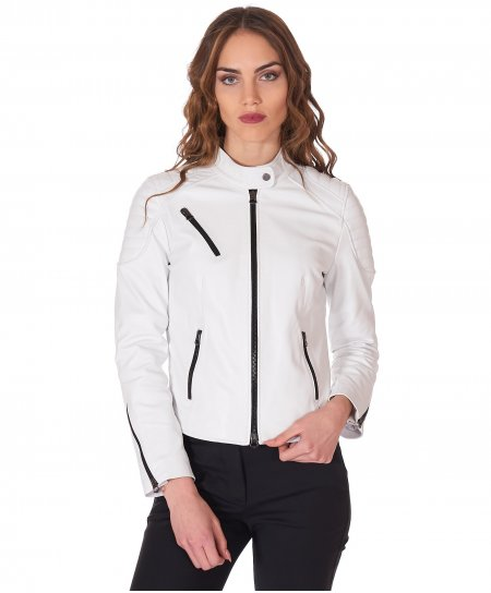 White quilted leather biker jacket smooth aspect