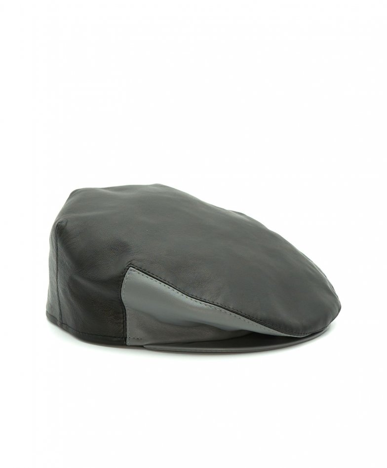 Black men's leather Ivy flat Cap Hat Flat grey contrasting visor