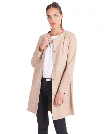 Beige suede leather overcoat green inner