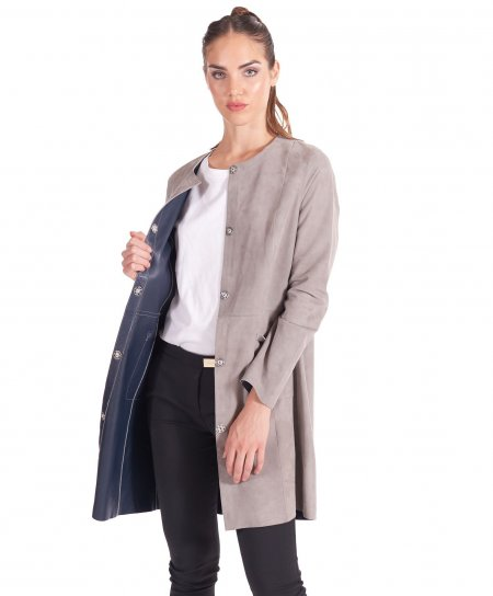Grey suede leather overcoat blue navy inner