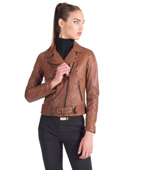 Tan belted nappa lamb leather perfecto jacket