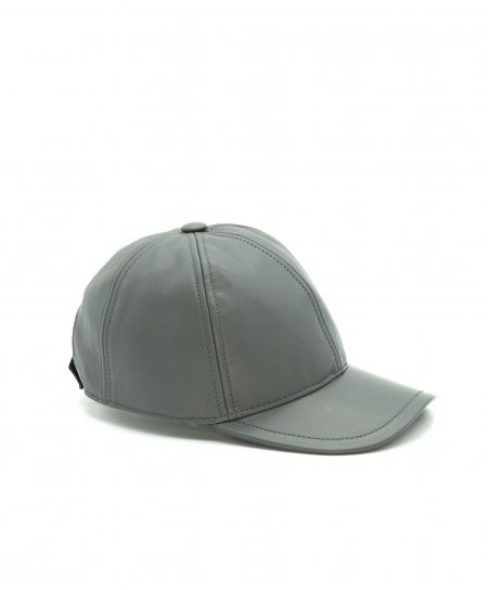 Grey unisex leather baseball Cap Hat adjustable velcro strap