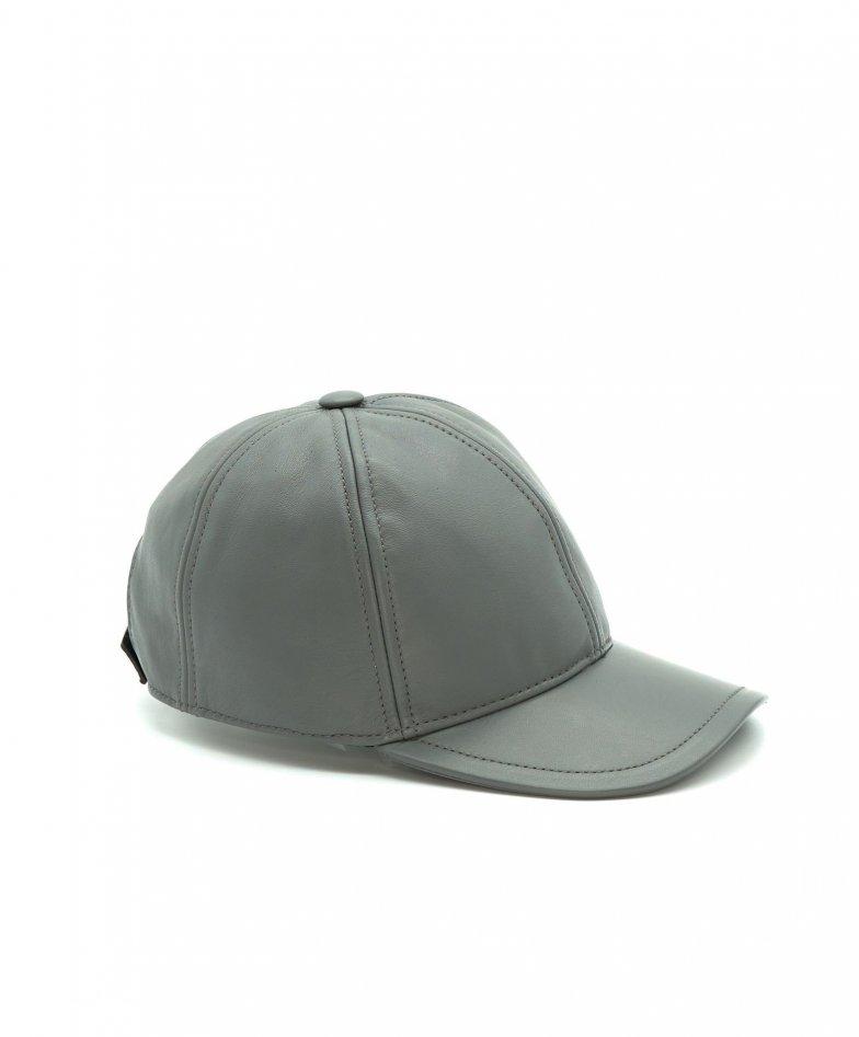 Grey unisex leather baseball Cap Hat adjustable velcro strap