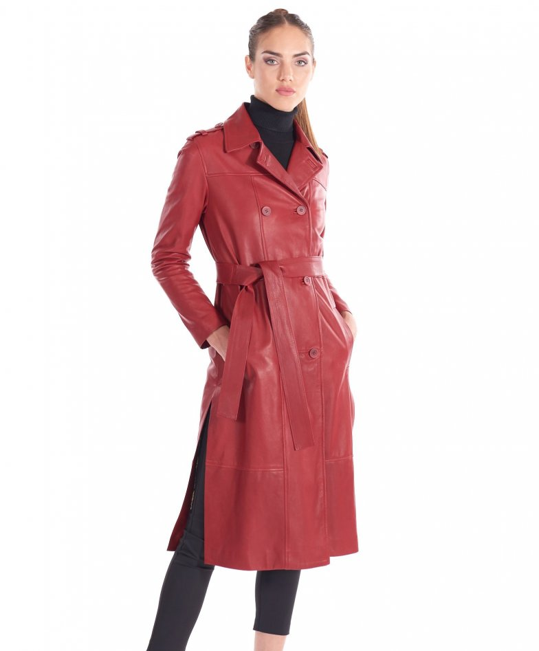 Red natural leather double-breasted coat both sides rips