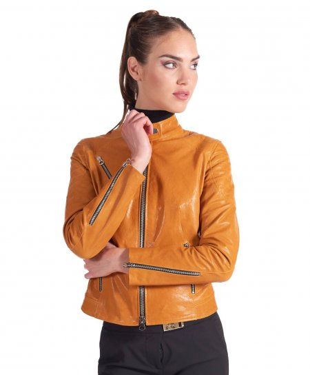 Ocher quilted washed leather biker jacket vintage aspect