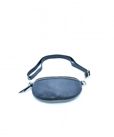 Blue small leather fanny pack wrinkled aspect
