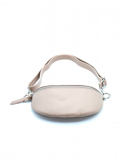 Powder pink small leather fanny pack wrinkled aspect
