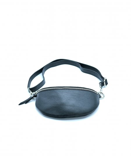 Black small leather fanny pack wrinkled aspect