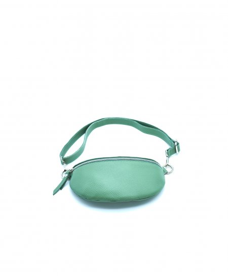 Light green small leather fanny pack wrinkled aspect