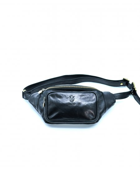 Black men's leather fanny pack calfskin vintage aspect