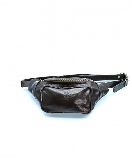 Dark brown men's leather fanny pack calfskin vintage aspect