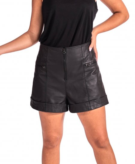 Black natural lamb leather unlined short pant vintage aspect