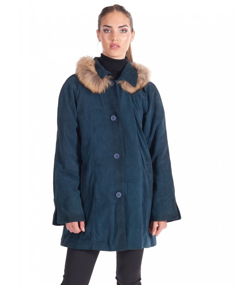 Blue fur hooded suede lamb leather coat comfort fit