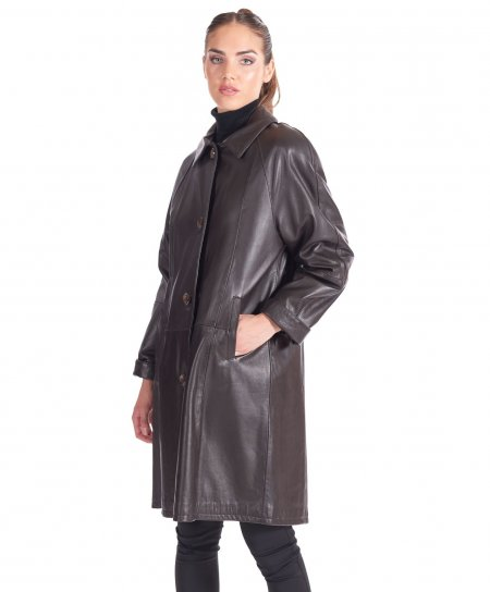Dark brown nappa leather coat flared trench fur collar